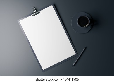 Top view of blank clipboard, pen and coffee cup on dark grey background. Mock up, 3D Rendering