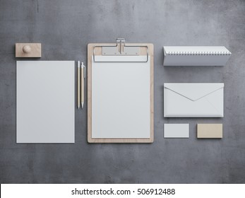 Top view of blank corporate identity stationery set. Branding mockup. Paper, presentation design template. 3d rendering