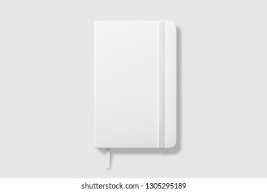 Top view of Blank photorealistic notebook mockup on light grey background, 3d illustration.