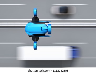 Top view of blue VTOL drone flying over highway bridge. Concept for fast delivery service. 3D rendering image.