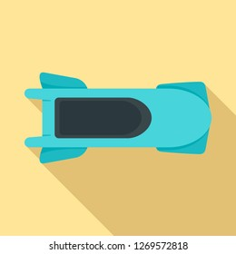 Top view bobsleigh icon. Flat illustration of top view bobsleigh icon for web design