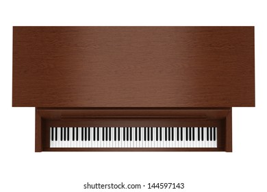 top view of brown upright piano isolated on white background