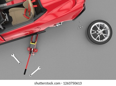 Top view of a car lifted with red hydraulic floor jack, 3D illustration