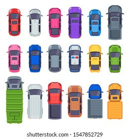 Top view cars. Auto transport, truck and car roof. City traffic automobile, jeep cars, truck or street taxi vehicle. flat isolated icons illustration set