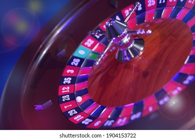 Top view of a casino roulette wheel. Selective focus. 3d illustration.
