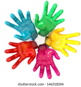 A top view of a circular group of glossy multicolored hands reaching skyward towards the camera on an isolated white background