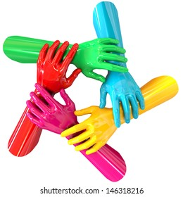 A top view of a circular group of glossy multicolored hands each holding onto the next on an isolated white background