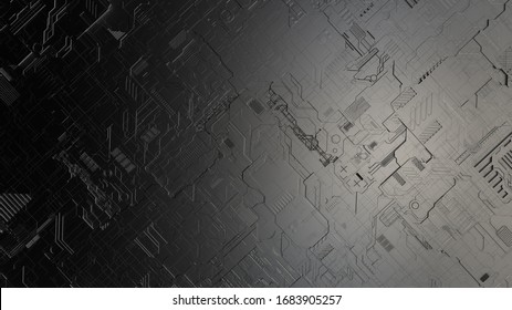top view closeup 3d illustration concept of dark grey highly detailed scifi futuristic pattern background resembling circuit board or spaceship exterior