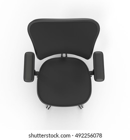 Top view cloth covered office chair, isolated on white background. 3D illustration