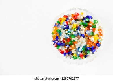 Top view colorful transparent beads in plastic on white background, accessory for threading are necklaces or bracelets, idea creative and hobby concept.