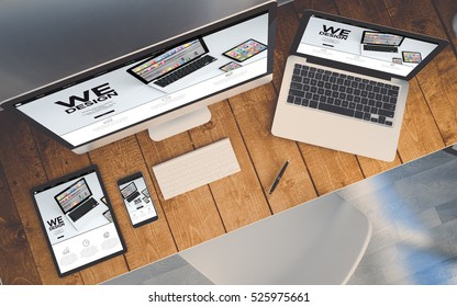 top view of a computer, laptop, smartphone and tablet on a desktop workspace. Responsive website on screen. 3d rendering. All screen graphics are made up.