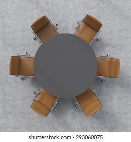 Top view of a conference room. A dark grey round table and six brown leather chairs around. 3D rendering