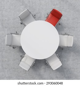 Top view of a conference room. A white round table and one red and five white chairs. 3D rendering