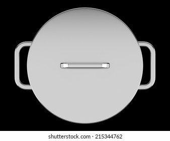 top view of cooking pan isolated on black background