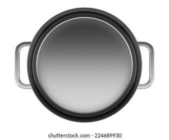 top view of cooking pan isolated on white background