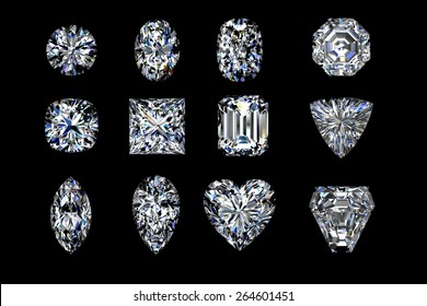 Top view diamond shapes on a black  background. 3d illustration.