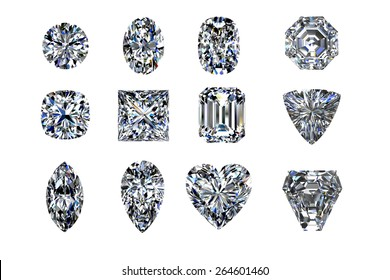Top view diamonds set twelve shape top view on a white background. 3d rendering.