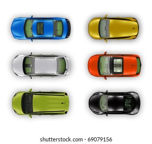Top view different automobiles set isolated on white