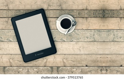 top view of an ebook reader with a cup of coffee, wooden background (3d render)