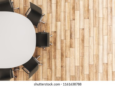 Top view of empty conference table and chairs on wooden floor background. Mock up, 3D Rendering