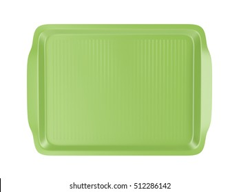 Top view of empty plastic tray, isolated on white background, 3D illustration