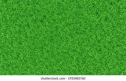 Top view Fresh green lawn For football and soccer fields or golf courses. For use to make background or wallpaper garden. Fresh green grass for a playground. 3D Rendering
