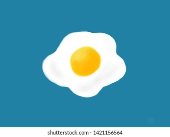 Top view of fried egg on blue background, illustration drawing.