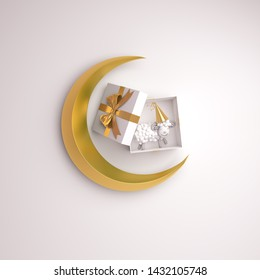 Top view of gift box, sheep, gold crescent moon on studio lighting white background. Design creative concept of islamic celebration eid al adha or happy birthday. 3d rendering illustration.
