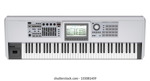 top view of gray synthesizer isolated on white background