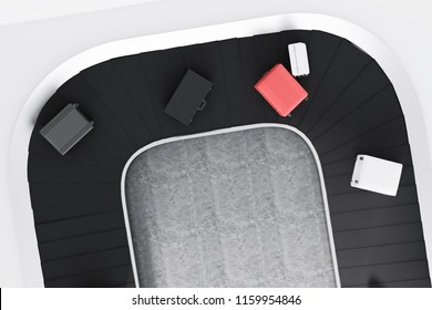 Top view of gray, white and pink suitcases on airport conveyor belt in a concrete floor room. 3d rendering mock up