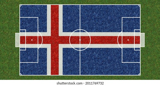 Top view of Green grass soccer field with flag of Iceland. football background. 3d illustration,