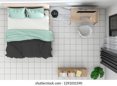 top view of interior bedroom with desktop computer. 3D render