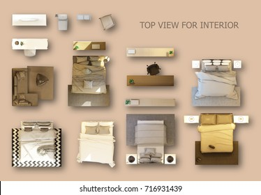 Top view for interior icon design.Flat interior top view icon.