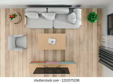 top view of interior living room with smart tv. 3D render