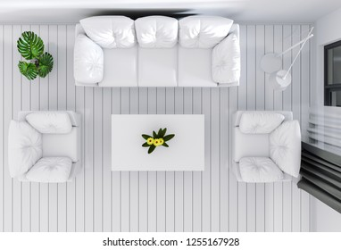 top view of interior living room. 3D render