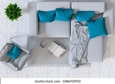 top view of interior modern living room. 3D render