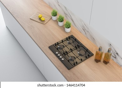 Top view of kitchen countertop with built in cooker, cutting board and plant pots standing in modern kitchen with white marble walls. 3d rendering