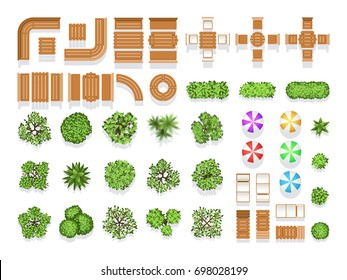 Top view landscaping architecture city park plan symbols, wooden benches and trees. Wooden modern sitting and table for design, illustration of creative natural structure city umbrella and tree