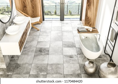 Top view of marble and wood wall bathroom interior with tiled floor, French window, white bathtub, and double sink with a round mirror above it. Vases. 3d rendering mock up