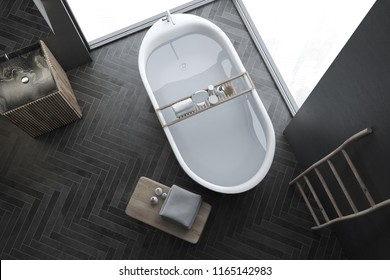 Top view of modern gray wall bathroom interior with black wooden floor, loft windows, ladder, sink and bathtub. Spa, hotel and luxury real estate. 3d rendering mock up