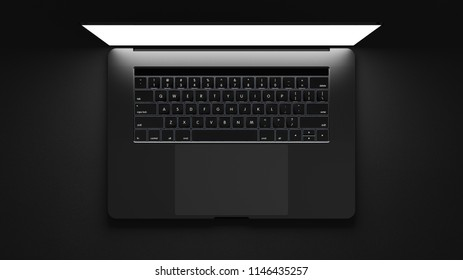 Top view of modern laptop isolated on  dark background. 3d illustration.