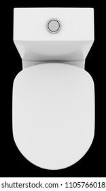 top view of modern standing toilet bowl isolated on black background. 3d illustration