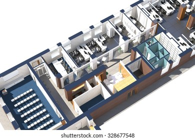 Top view of the office space. Architectural visualization isolated on white