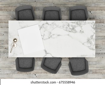 Top view office table with mock up poster, 3d illustration