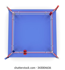 Top view on boxing ring isolated on white background. 3d illustration.