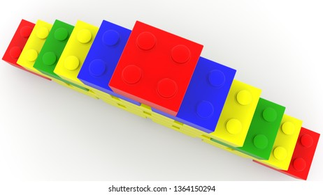 Top view on pyramid of colorful toy bricks.3d illustration