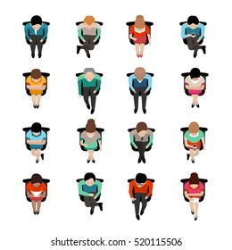 Top view on sitting business people with coffee caps or reading letters flat isolated icons  illustration