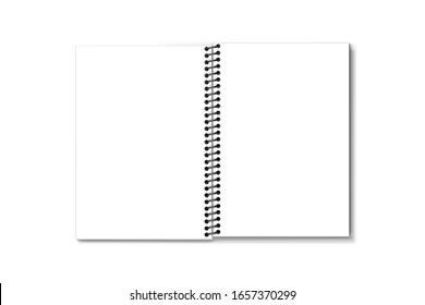 Top view opened plastic coil book binding mockup. 3D rendering.