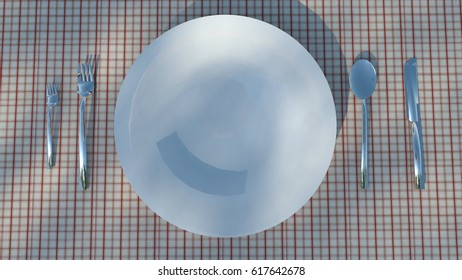 Top view plate in ble knife and fork on Red stripes fabric, 3D illustration.