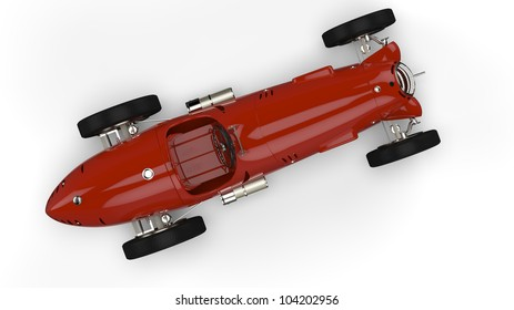 Top view of a red old race car isolated on white background